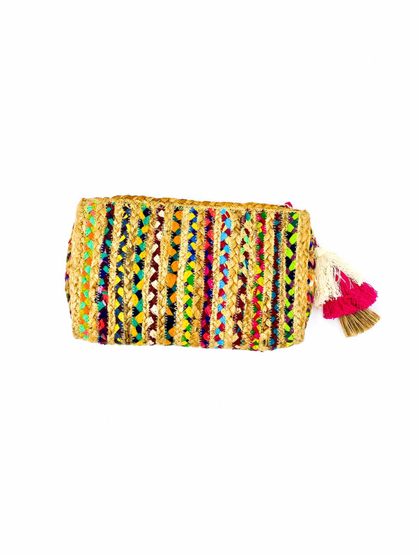 Multicolor Straw Clutch Bag