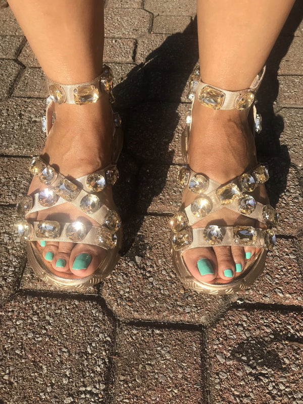 "To Be Jeweled Sandals ""Gold"""