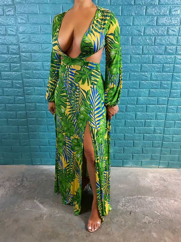 The Green Palm Maxi Dress