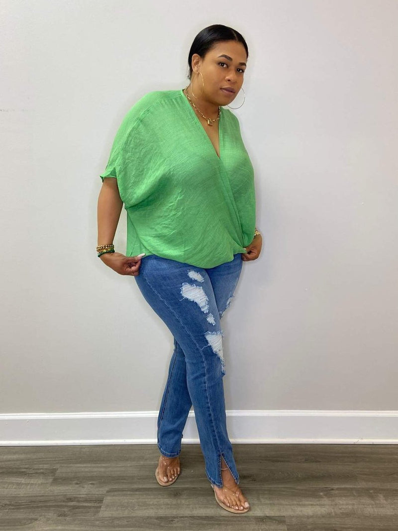 "Fancy Lady Cross Front Poncho Blouse ""Green"""