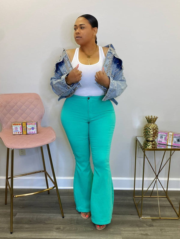 "High Waist Super Stretch Bell Bottom Pants ""Turquoise"""
