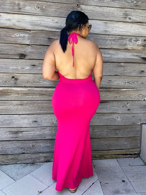"Halter Backless Maxi Dress  ""Fucshia"""