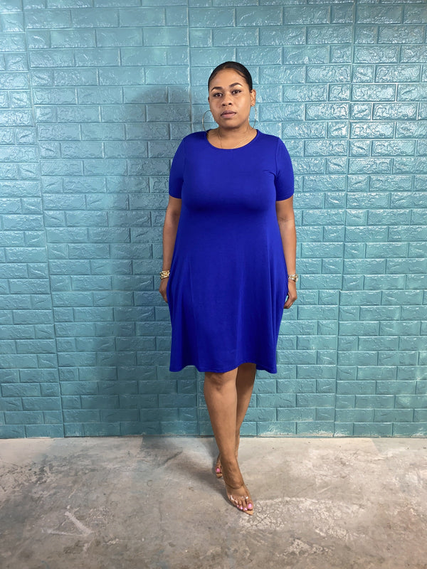 "ROUND NECK Swing Dress ""DENIM BLUE"""