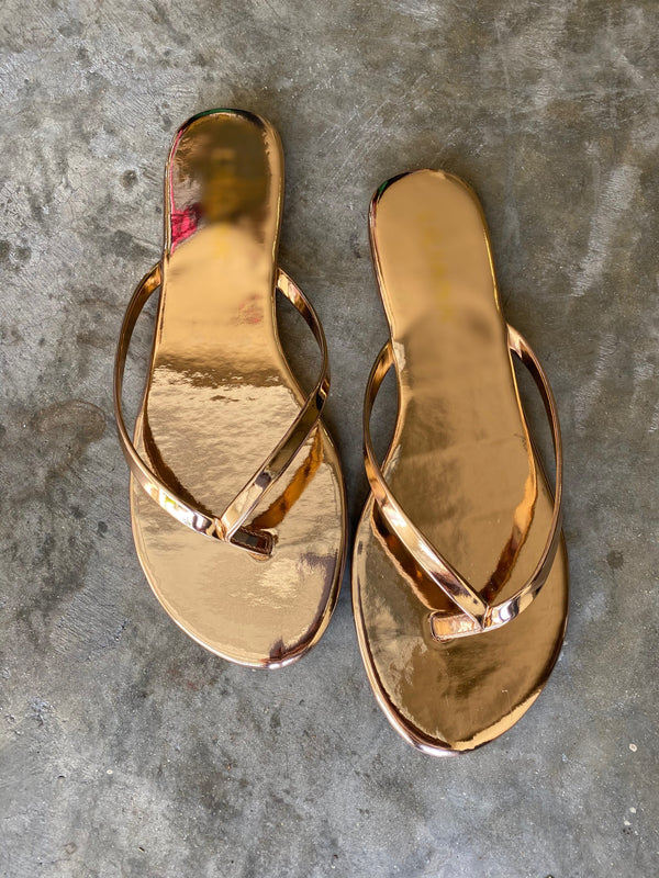 Rose Gold Thong Slippers - Classy But Sassy