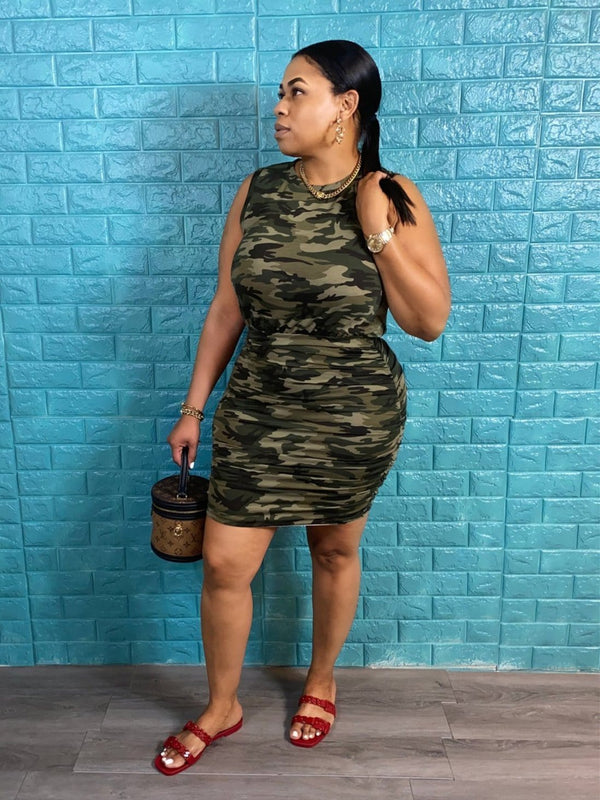 Ruched Bottom Camouflage Mini Dress