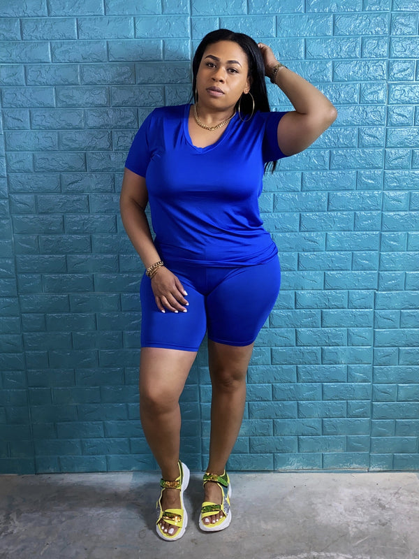 "V Neck Tshirt And Biker Short Set ""Royal Blue"""