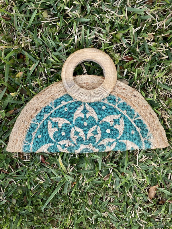 "Half Moon Wooden Handle Hand Painted Straw Bag ""Green"""