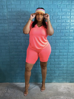 neon coral vneck tshirt and biker shorts set