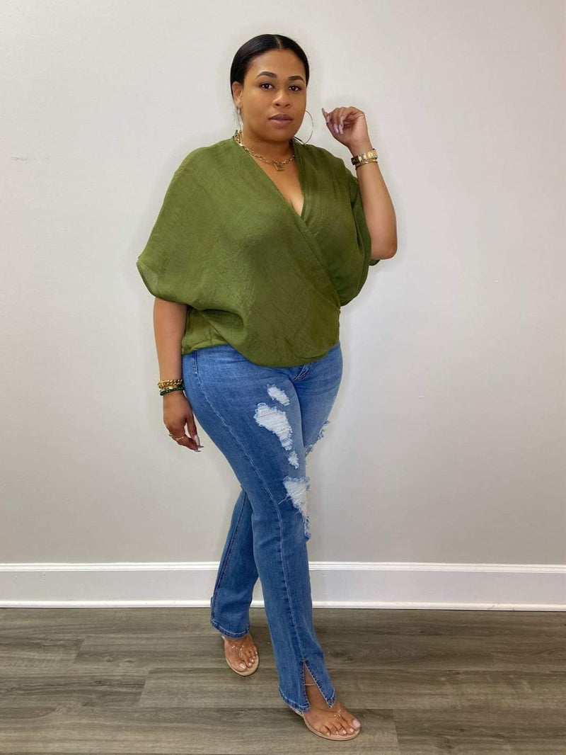 "Fancy Lady Cross Front Poncho Blouse ""Olive"""