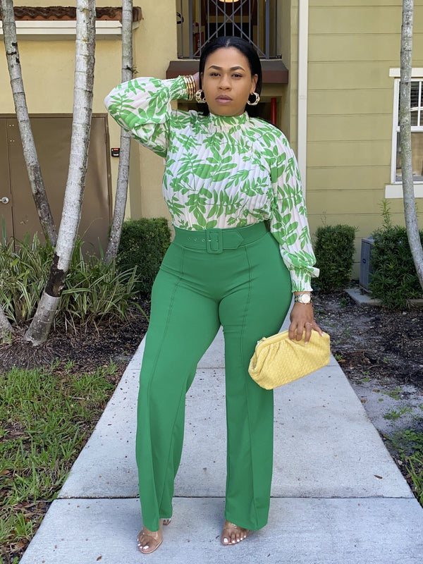 green wide leg pants - classy but sassy