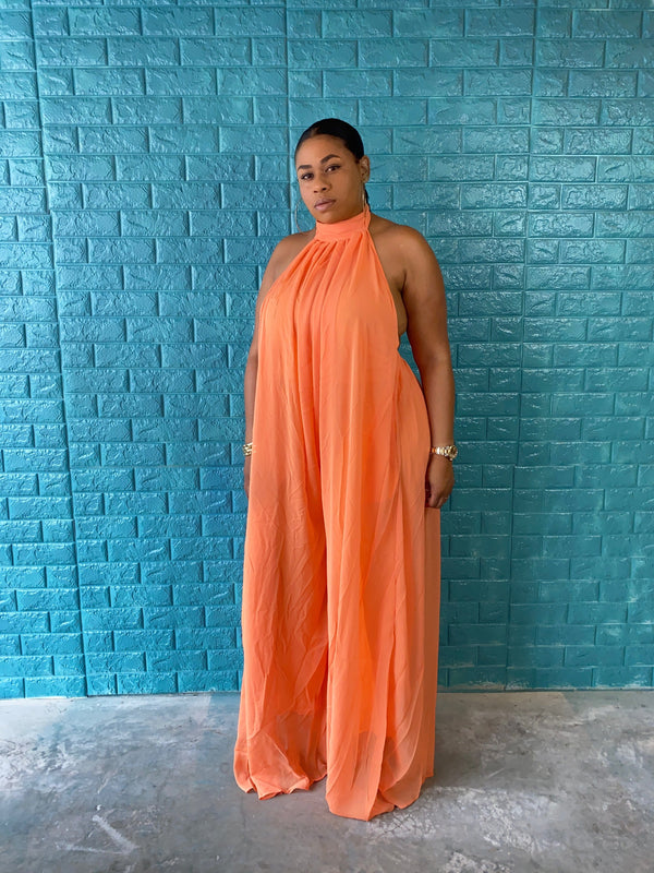 orange backless jumpsuit - classy but sassy