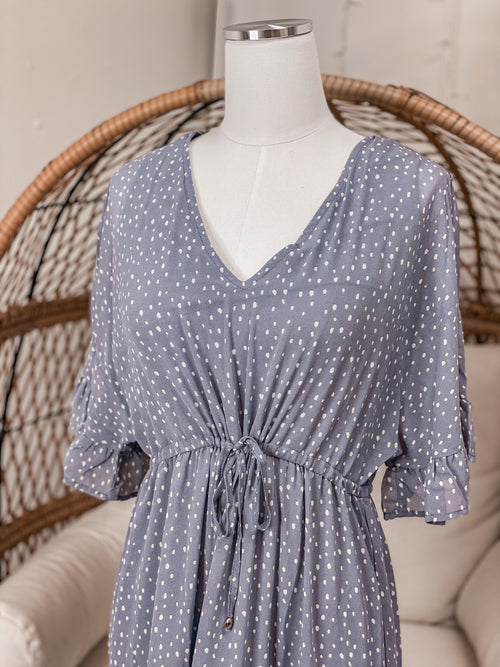 Lavender Polkadot Midi Dress
