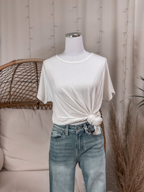 Ribbed Easy Wear Slouchy Tee
