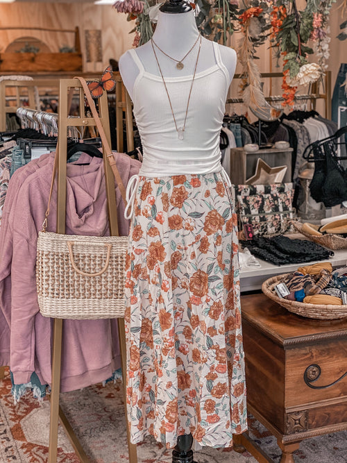 Peachy Floral Midi Skirt