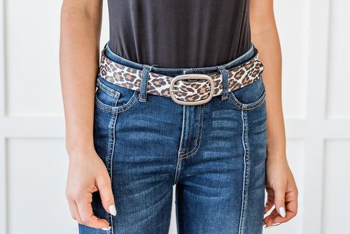 Seeing Double Leopard Print Belt- White