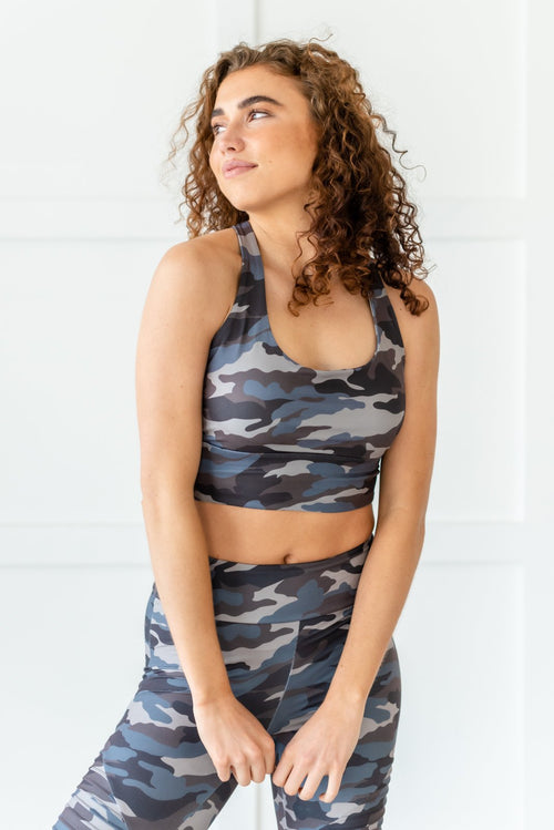 Falling For You Camo Sports Bra