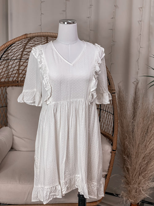 White Babydoll Dress with Ruffle Detail