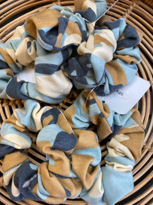 Blue Camo Scrunchie
