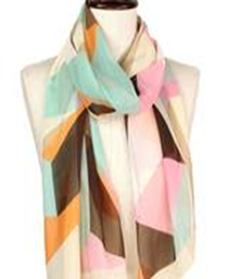 Abstract Silky Oblong Scarf - Beige