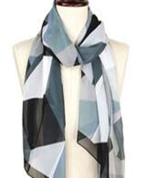 Abstract Silky Oblong Scarf - Black