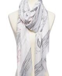 Cashmere Floral Print Scarf - Gray