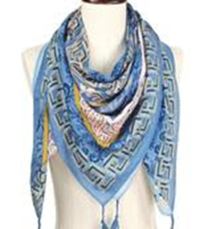 Flower Print Square Scarf - Light Blu