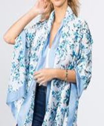 Floral Printed Oblong Scarf - Blue
