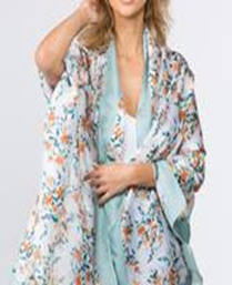 Floral Printed Oblong Scarf - Mint