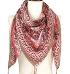 Flower Print Square Scarf - Taupe