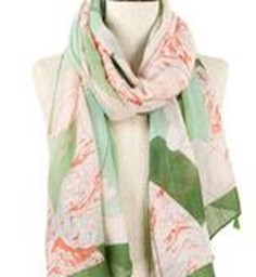 Geometric Floral Oblong Scarf - Green