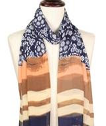 Multi-Patterned Silky Scarf - Navy