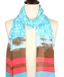 Multi-Patterned Silky Scarf - Turquois