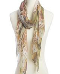 Paisley Printed Silky Scarf - Olive