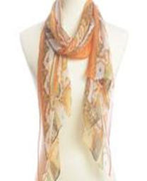 Paisley Printed Silky Scarf - Orange