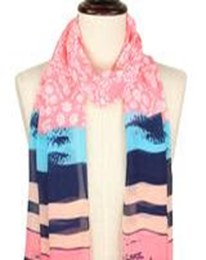 Multi-Patterned Silky Scarf - Coral