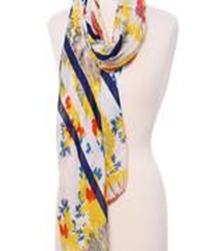 Soft Floral Print Oblong Scarf - Yellow