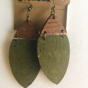Earrings Olive Green Cork & Walnut