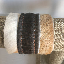 Load image into Gallery viewer, Brown & White Hide Leather Cuff