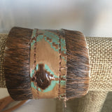 Navajo Turquoise Leather Cuff