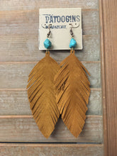 Load image into Gallery viewer, Earrings Tan Suede with Turquoise