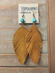 Earrings Tan Suede with Turquoise
