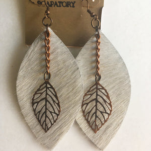 Earrings Leather and Leaf