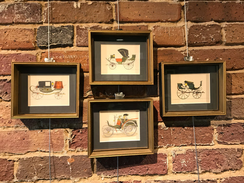 4 Antique Carriage Prints