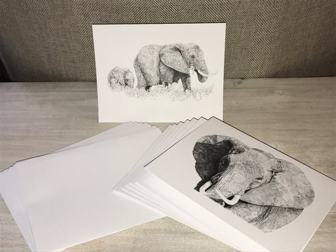 Elephant Note Cards - Pencil
