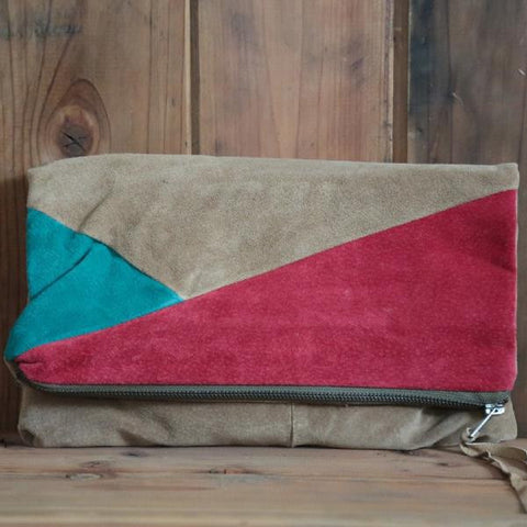 Turquoise Angle Fold Down Clutch
