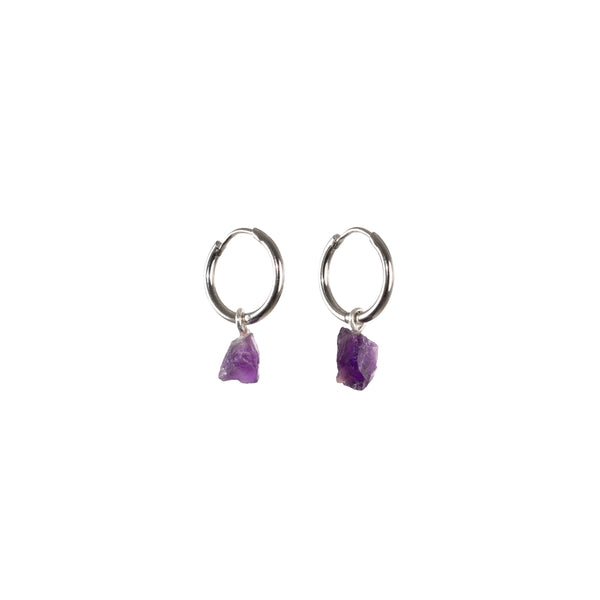 Stone of Protection Ear Hoops Small - Amethyst - Silver / Gold Plated