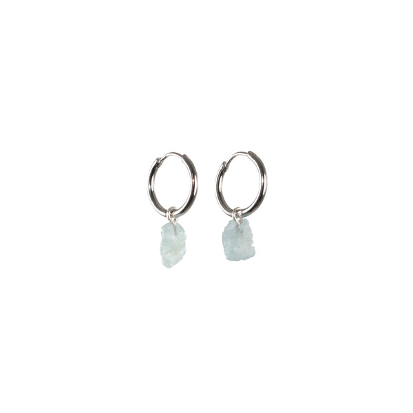 Stone of Balance Ear Hoops Small - Aquamarine - Silver / Gold Plated