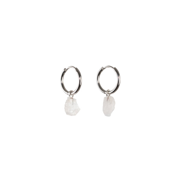Stone of Intuition Ear Hoops Small - Moonstone - Silver / Gold Plated
