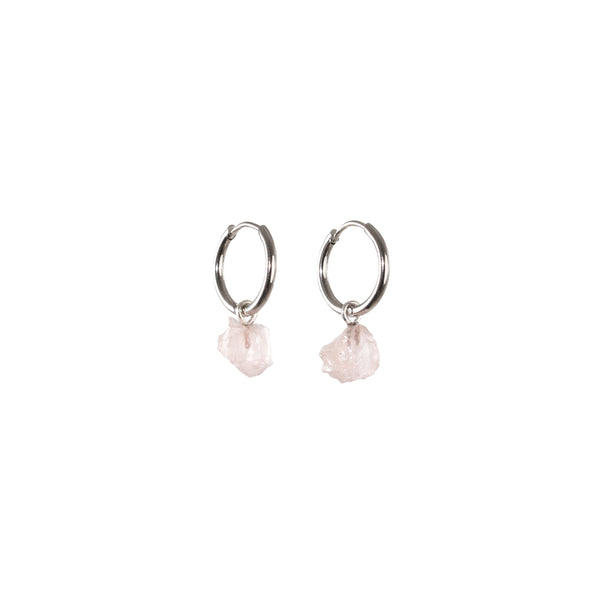 Stone of Love Ear Hoops Small - Rose Quartz - Silver / Gold Plated