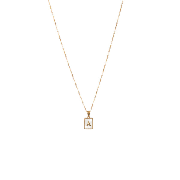 Shell Initial Letter Necklace - Silver / Gold Plated